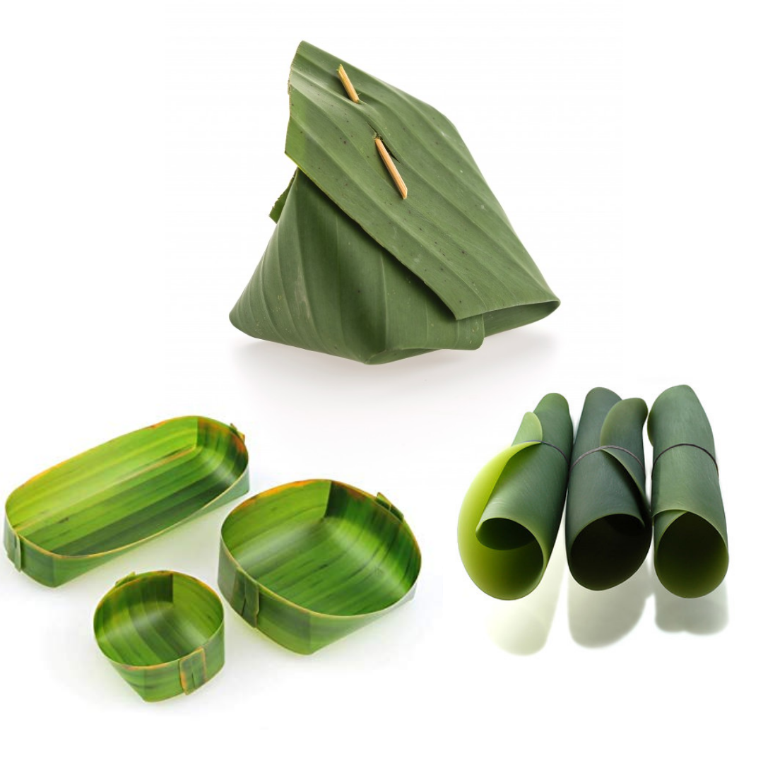 Banana leaves are used for packaging in an innovative Thailand supermarket