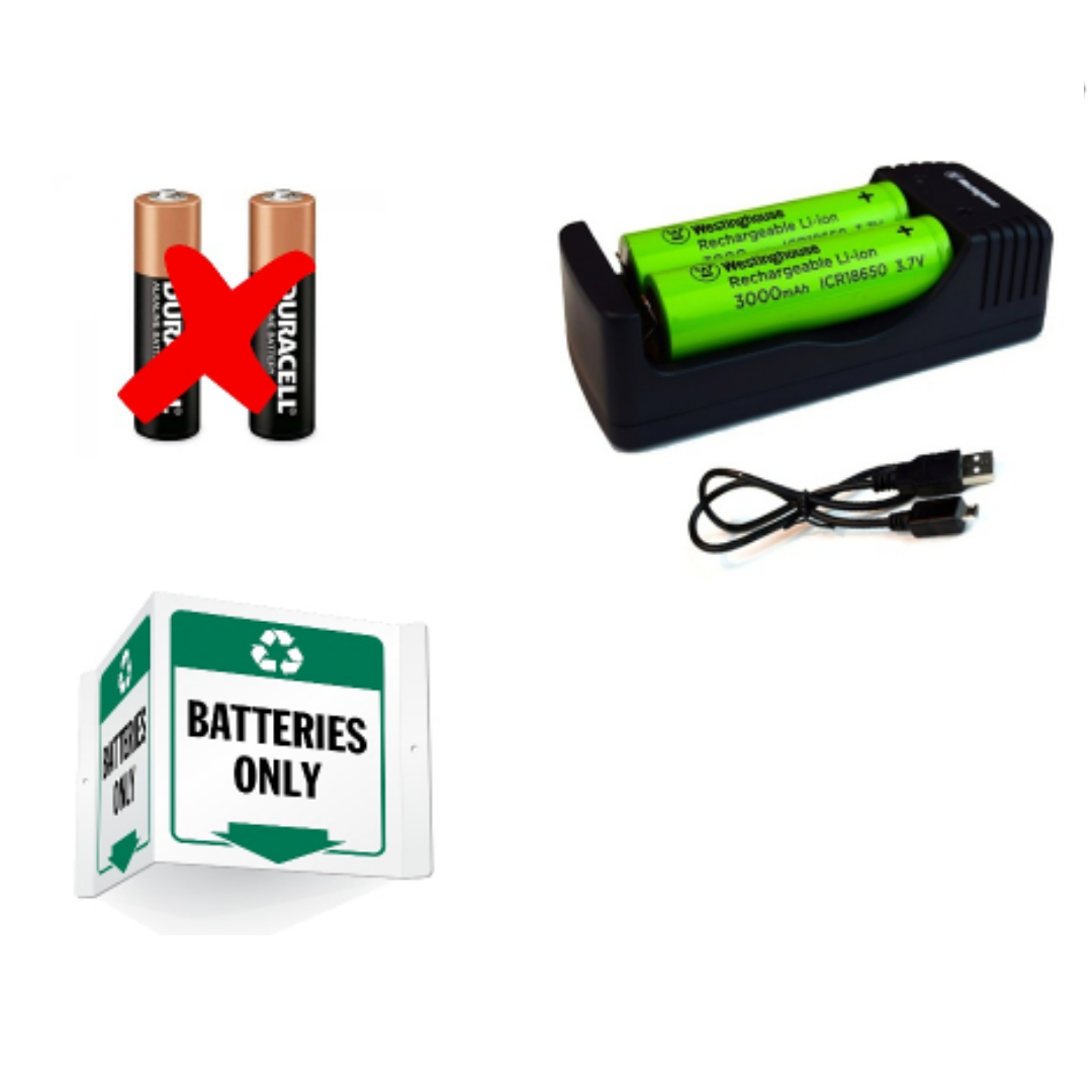 Use rechargeable batteries instead of single-use ones