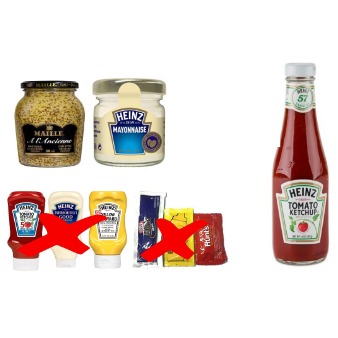 Choose glass containers for ketchup, mayo and mustard