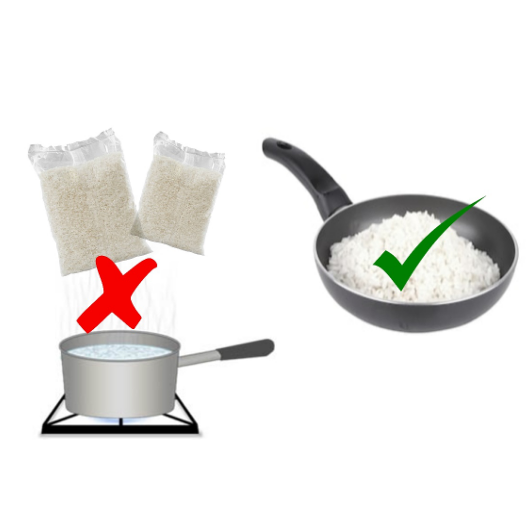 Cook your rice directly on the pan instead of using rice bags