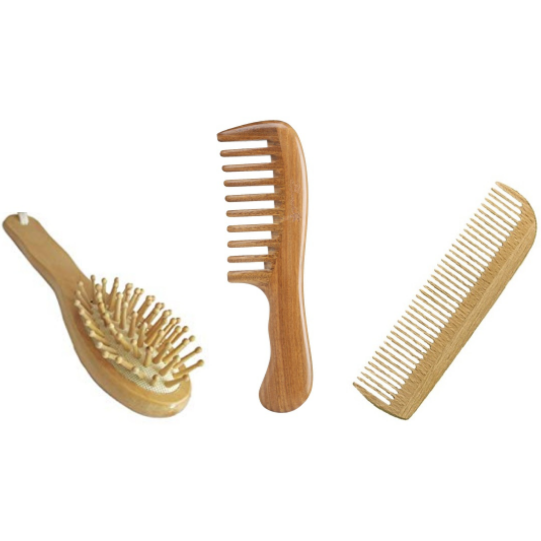 Use a biodegradable wooden comb and hairbrush