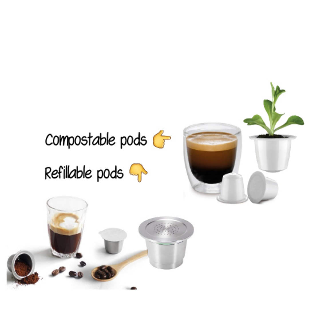 Love espressos? Use refillable or compostable coffee pods