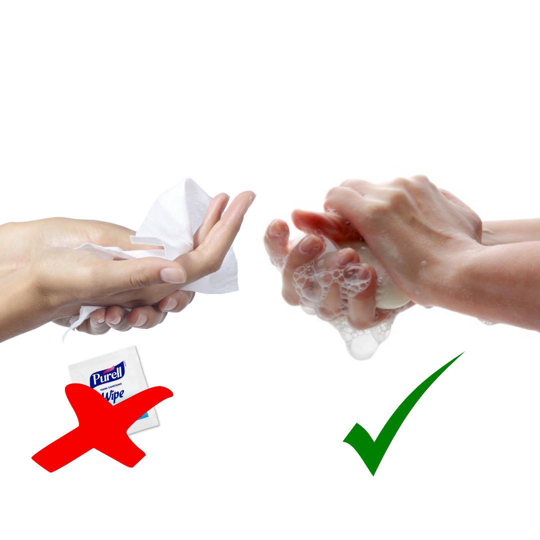 Wash your hands instead of using single-use wipes