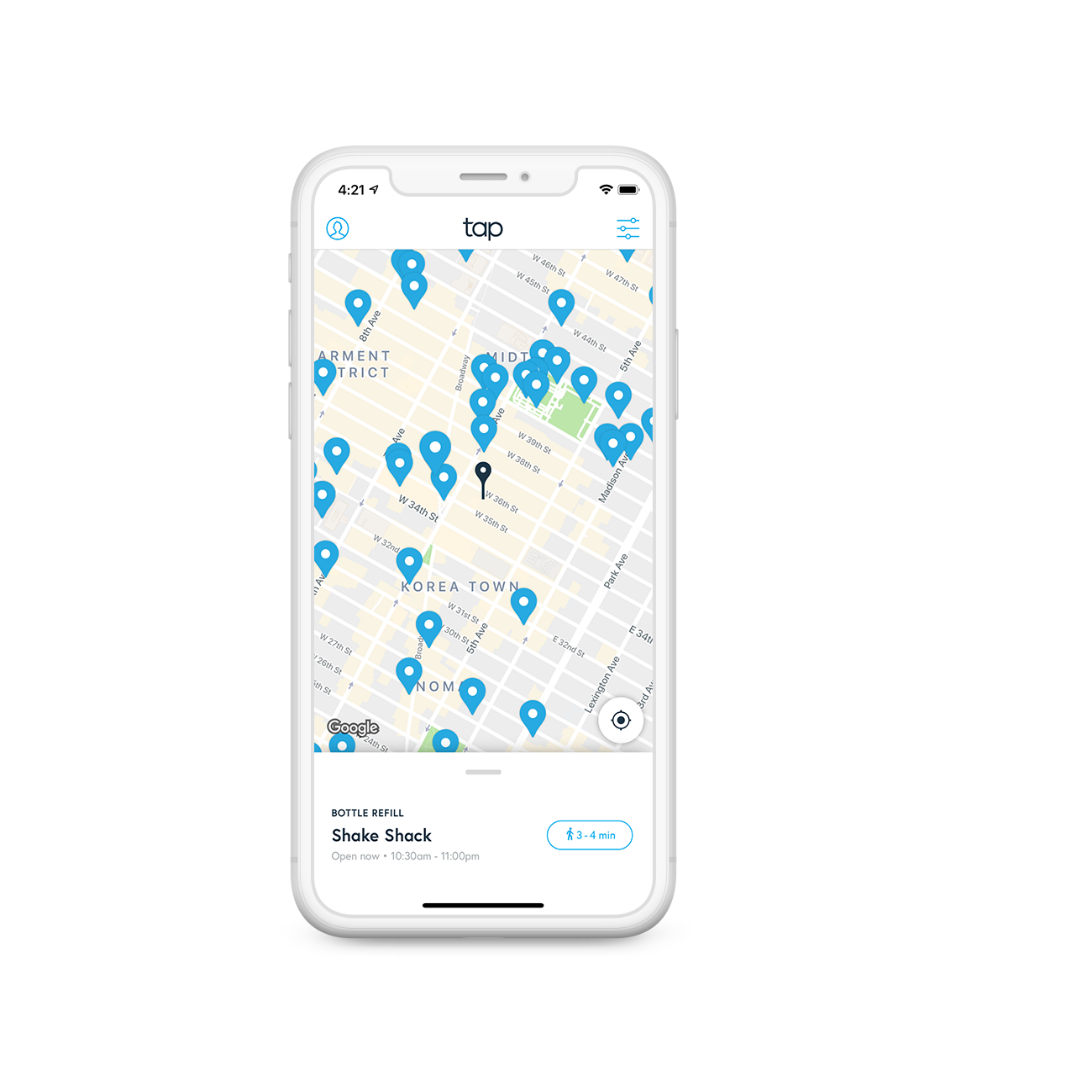 Find places to refill your bottle near you with the TAP app